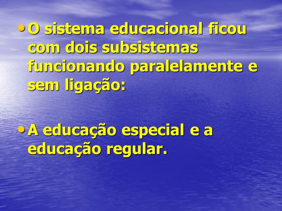 O sistema educacional ficou com dois subsistemas funcionando paralelamente e sem ligação: O sistema educacional ficou com dois subsistemas funcionando