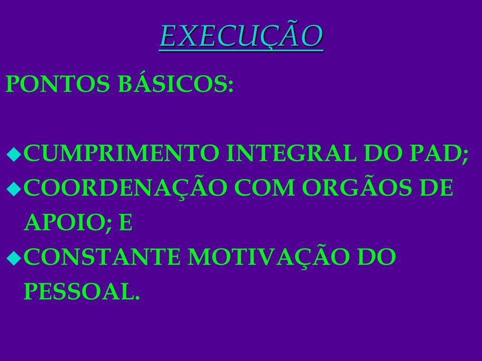 11EXECUÇÃO PONTOS BÁSICOS: u CUMPRIMENTO INTEGRAL DO PAD; u COORDENAÇÃO COM ORGÃOS DE APOIO; E u CONSTANTE MOTIVAÇÃO DO PESSOAL.