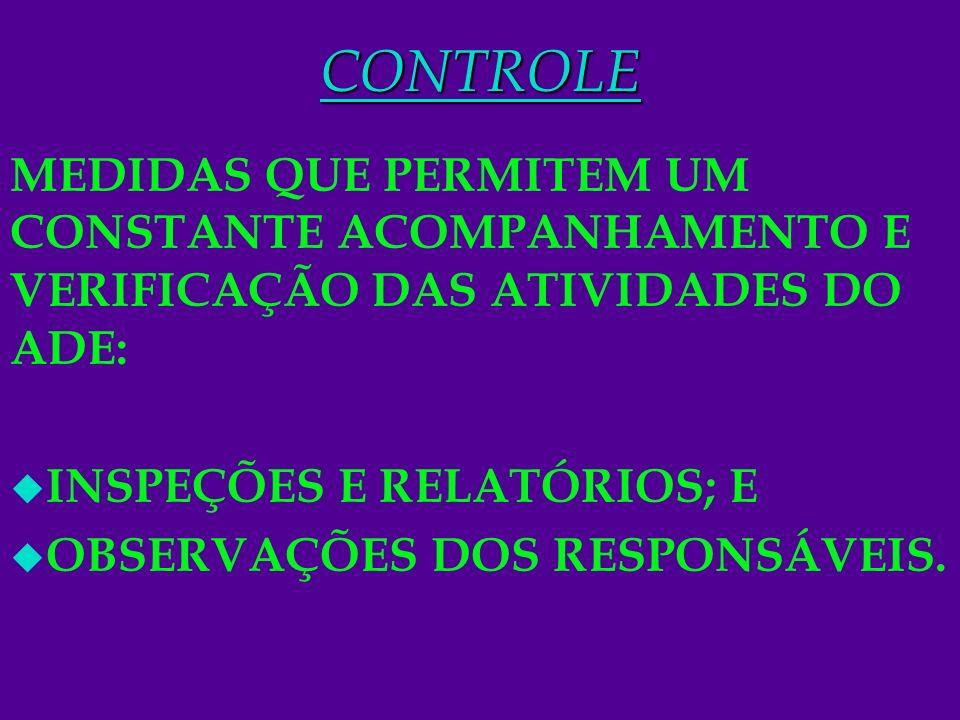 12CONTROLE MEDIDAS QUE PERMITEM UM CONSTANTE ACOMPANHAMENTO E VERIFICAÇÃO DAS ATIVIDADES DO ADE: u INSPEÇÕES E RELATÓRIOS; E u OBSERVAÇÕES DOS RESPONS