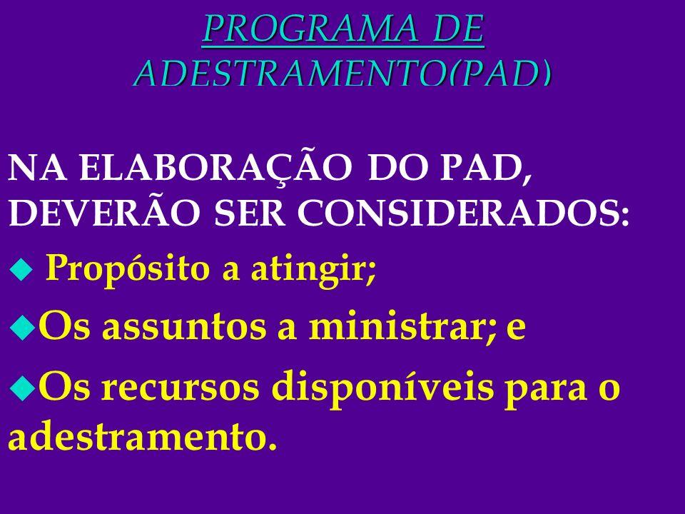 9 PROGRAMA DE ADESTRAMENTO(PAD) NA ELABORAÇÃO DO PAD, DEVERÃO SER CONSIDERADOS: u Propósito a atingir; u Os assuntos a ministrar; e u Os recursos disp