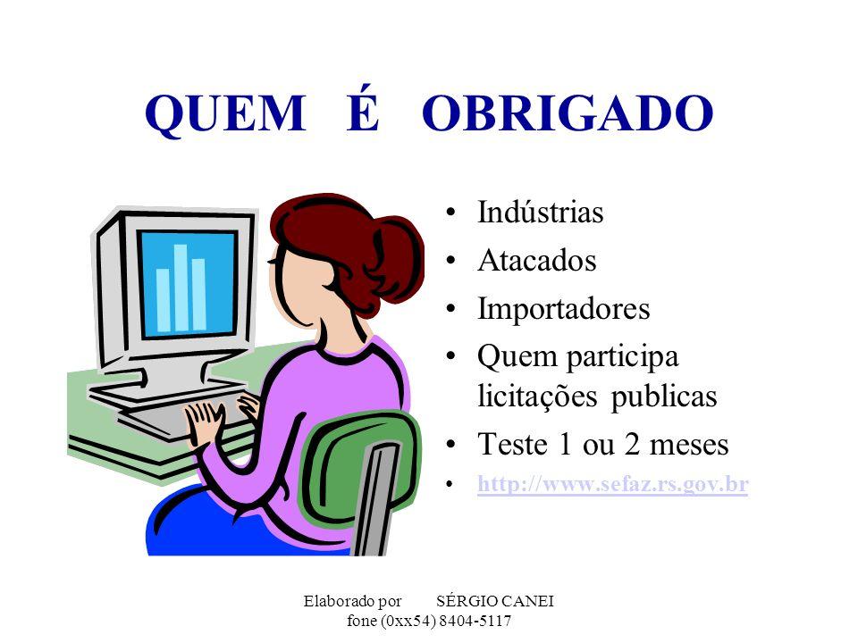 Elaborado por SÉRGIO CANEI fone (0xx54) 8404-5117 QUEM É OBRIGADO Indústrias Atacados Importadores Quem participa licitações publicas Teste 1 ou 2 mes
