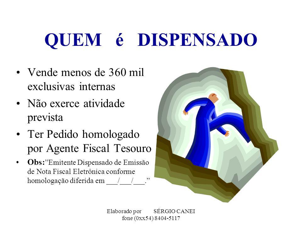 Elaborado por SÉRGIO CANEI fone (0xx54) 8404-5117 QUEM é DISPENSADO Vende menos de 360 mil exclusivas internas Não exerce atividade prevista Ter Pedid