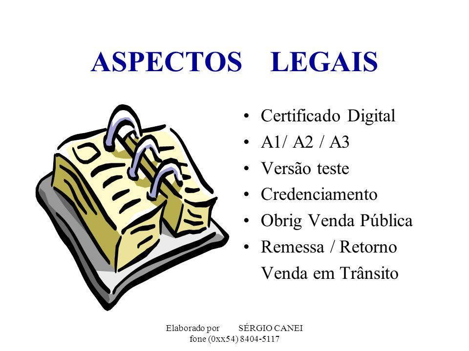 Elaborado por SÉRGIO CANEI fone (0xx54) 8404-5117 ASPECTOS LEGAIS Certificado Digital A1/ A2 / A3 Versão teste Credenciamento Obrig Venda Pública Reme