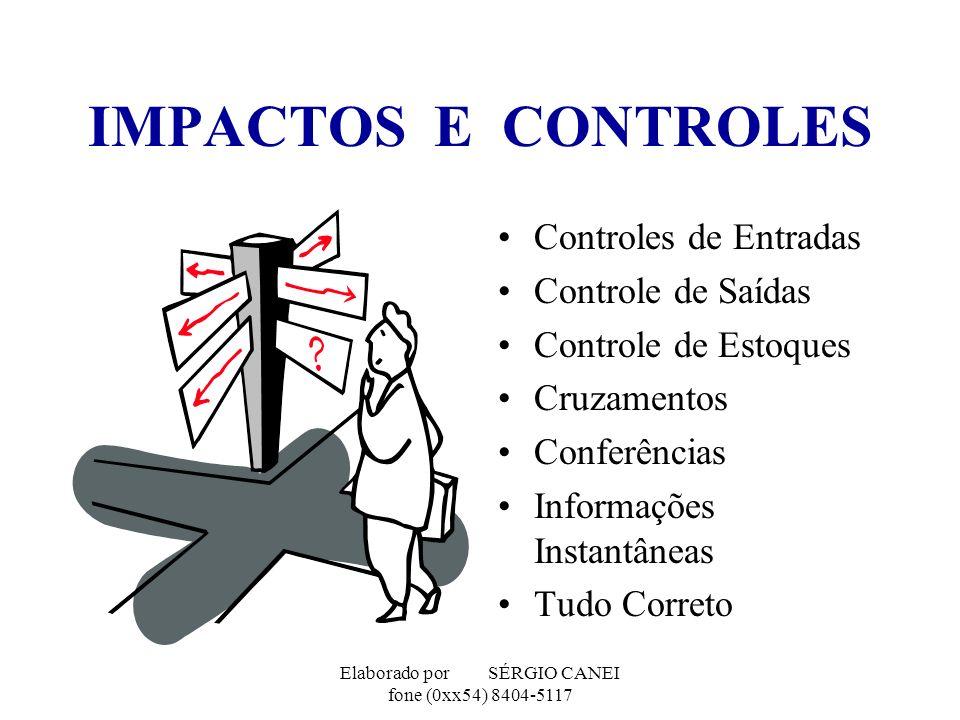 Elaborado por SÉRGIO CANEI fone (0xx54) 8404-5117 IMPACTOS E CONTROLES Controles de Entradas Controle de Saídas Controle de Estoques Cruzamentos Confe