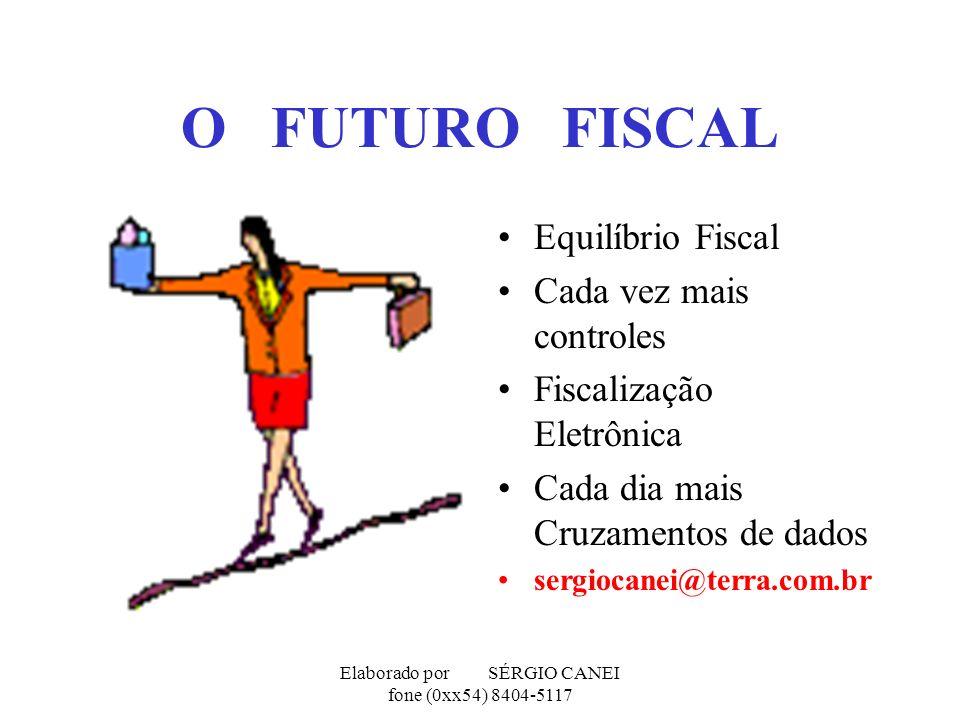 Elaborado por SÉRGIO CANEI fone (0xx54) 8404-5117 O FUTURO FISCAL Equilíbrio Fiscal Cada vez mais controles Fiscalização Eletrônica Cada dia mais Cruz