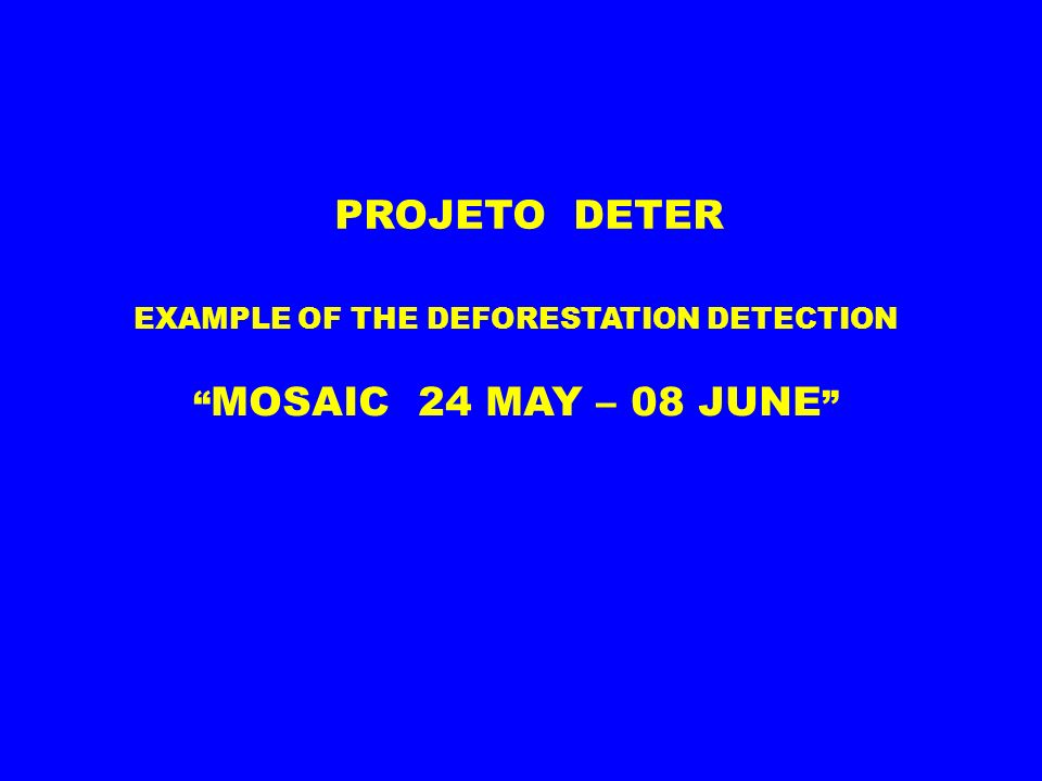EXAMPLE OF THE DEFORESTATION DETECTION MOSAIC 24 MAY – 08 JUNE PROJETO DETER