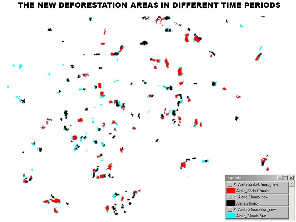 THE NEW DEFORESTATION AREAS IN DIFFERENT TIME PERIODS