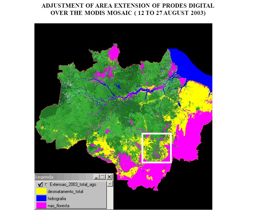 OPERATIONAL ACTIVITIES OF DETER PROJECT 1) Analysis of MODIS daily image 2) New deforestation areas (weekly, monthly,...) 3) Incorporate methods as automated as possible 4) Send the information to IBAMA