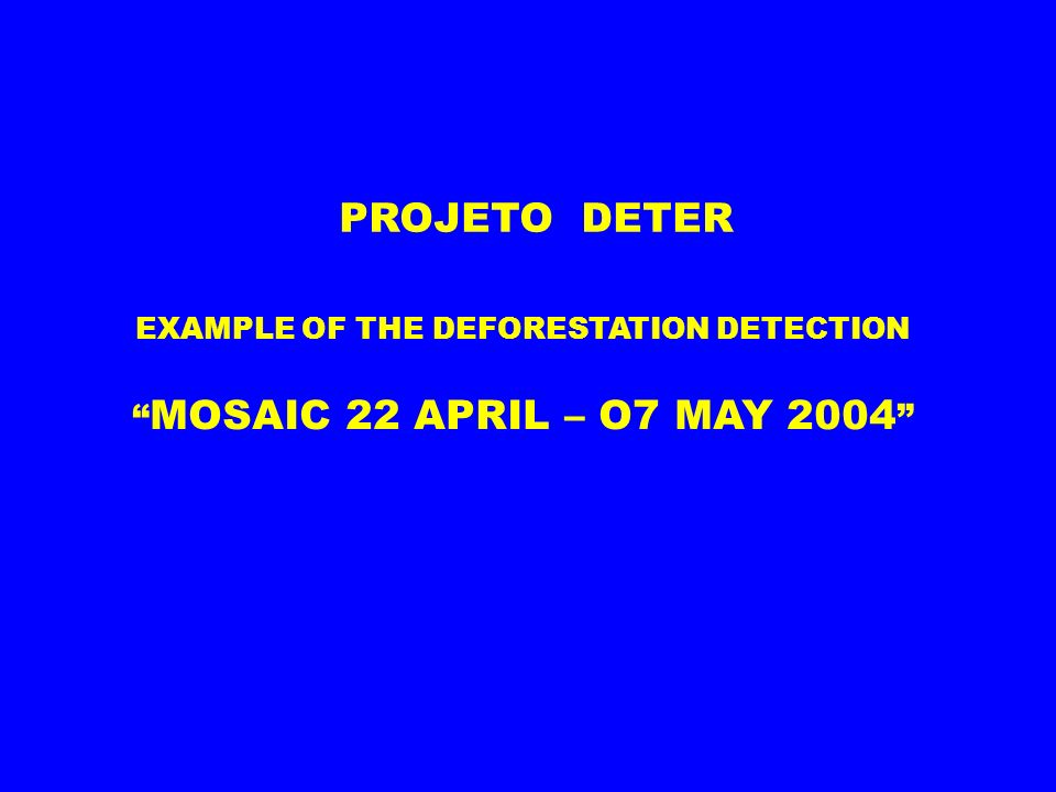 EXAMPLE OF THE DEFORESTATION DETECTION MOSAIC 22 APRIL – O7 MAY 2004 PROJETO DETER