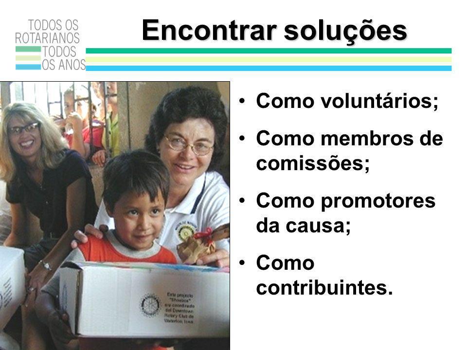 Encontrar soluções Como voluntários; Como membros de comissões; Como promotores da causa; Como contribuintes.