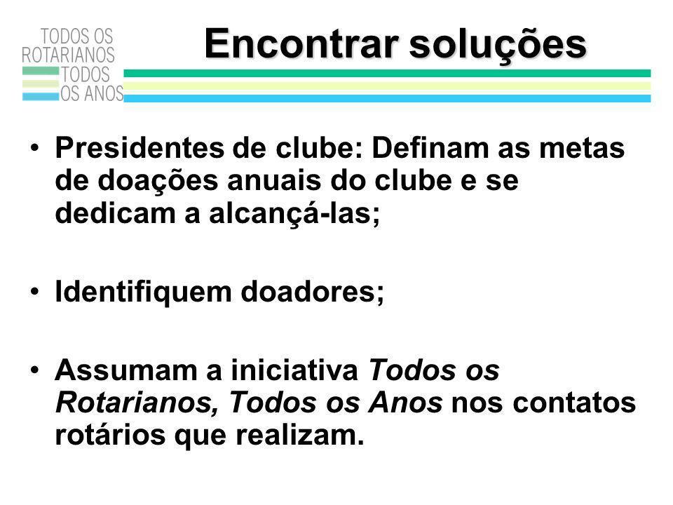 Encontrar soluções Presidentes de clube: Definam as metas de doações anuais do clube e se dedicam a alcançá-las; Identifiquem doadores; Assumam a iniciativa Todos os Rotarianos, Todos os Anos nos contatos rotários que realizam.