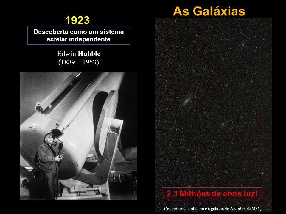 As Galáxias Descoberta como um sistema estelar independente 1923 Edwin Hubble (1889 – 1953) Céu noturno a olho nu e a galáxia de Andrômeda M31; 2,3 Mi