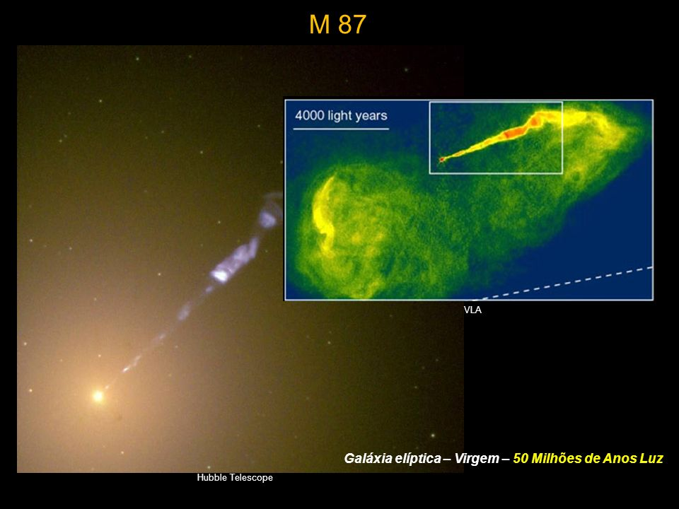 Galáxia elíptica – Virgem – 50 Milhões de Anos Luz Hubble Telescope VLA