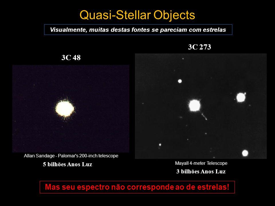 Quasi-Stellar Objects 3C 273 Visualmente, muitas destas fontes se pareciam com estrelas Mayall 4-meter Telescope Allan Sandage - Palomar's 200-inch te