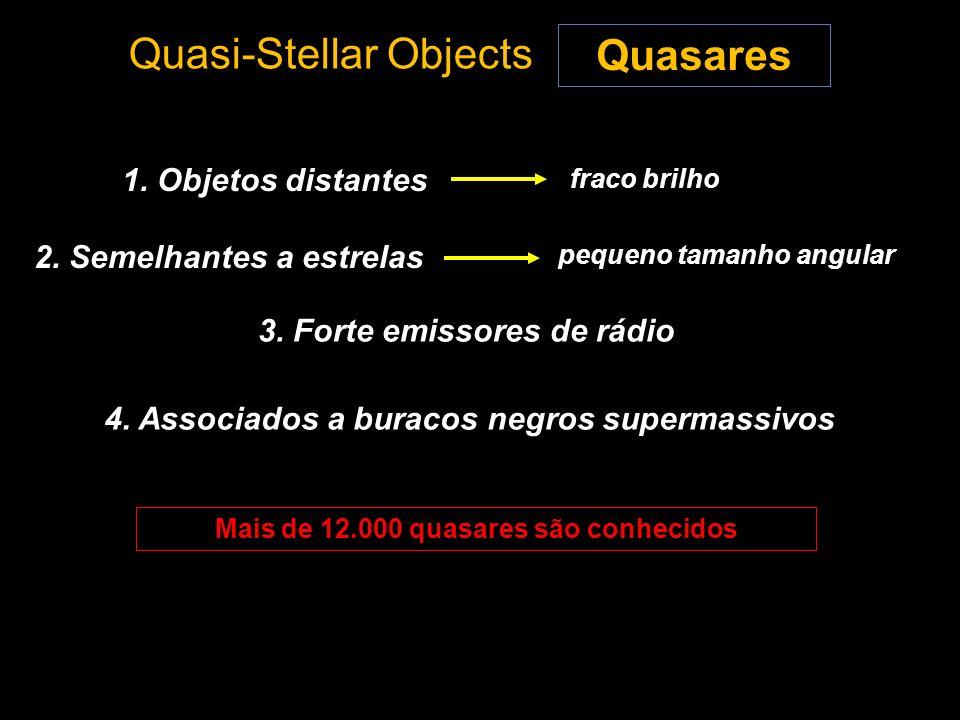 Quasi-Stellar Objects Quasares 1. Objetos distantes 2. Semelhantes a estrelas fraco brilho 3. Forte emissores de rádio Mais de 12.000 quasares são con