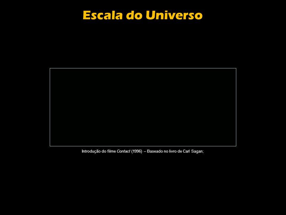 Escala do Universo Introdução do filme Contact (1996) – Baseado no livro de Carl Sagan;
