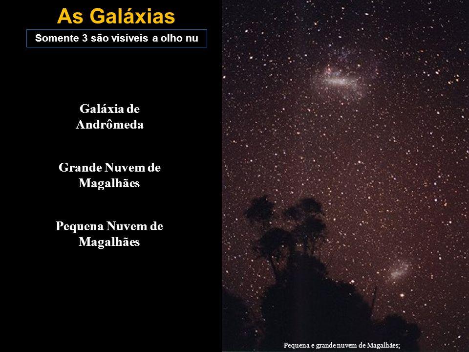 As Galáxias Somente 3 são visíveis a olho nu Galáxia de Andrômeda Grande Nuvem de Magalhães Pequena Nuvem de Magalhães Pequena e grande nuvem de Magal