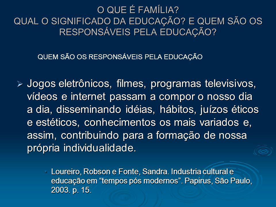 O QUE É FAMÍLIA? QUAL O SIGNIFICADO DA EDUCAÇÃO? E QUEM SÃO OS RESPONSÁVEIS PELA EDUCAÇÃO? Jogos eletrônicos, filmes, programas televisivos, vídeos e