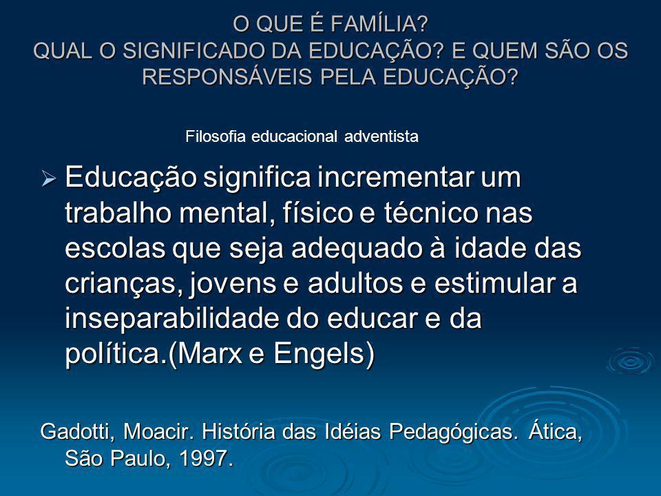O QUE É FAMÍLIA? QUAL O SIGNIFICADO DA EDUCAÇÃO? E QUEM SÃO OS RESPONSÁVEIS PELA EDUCAÇÃO? Educação significa incrementar um trabalho mental, físico e