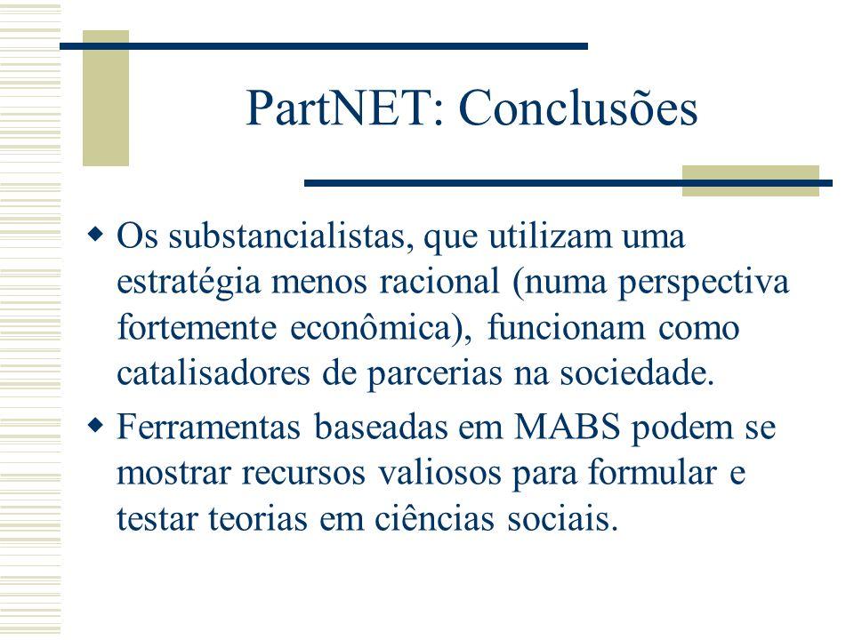 PartNET: Conclusões Os substancialistas, que utilizam uma estratégia menos racional (numa perspectiva fortemente econômica), funcionam como catalisado