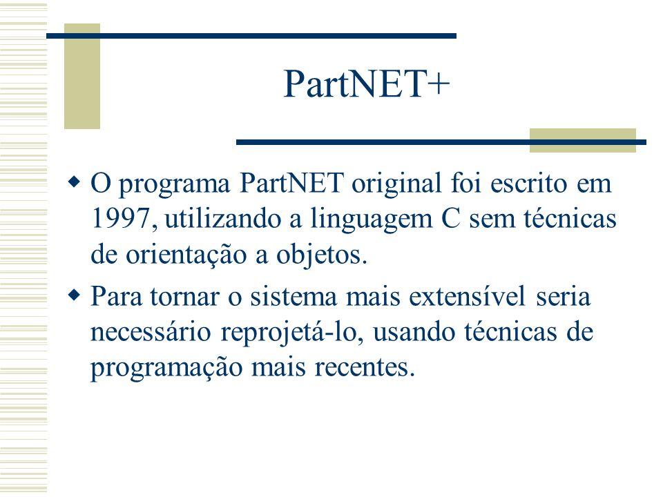 PartNET+ O programa PartNET original foi escrito em 1997, utilizando a linguagem C sem técnicas de orientação a objetos. Para tornar o sistema mais ex