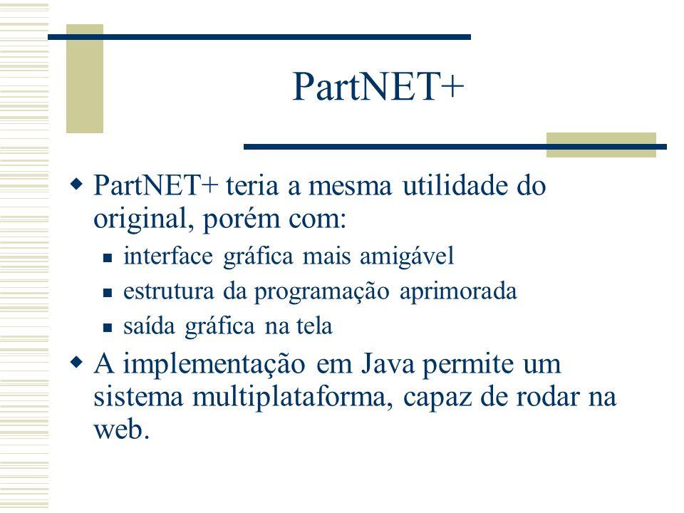 PartNET+ PartNET+ teria a mesma utilidade do original, porém com: interface gráfica mais amigável estrutura da programação aprimorada saída gráfica na
