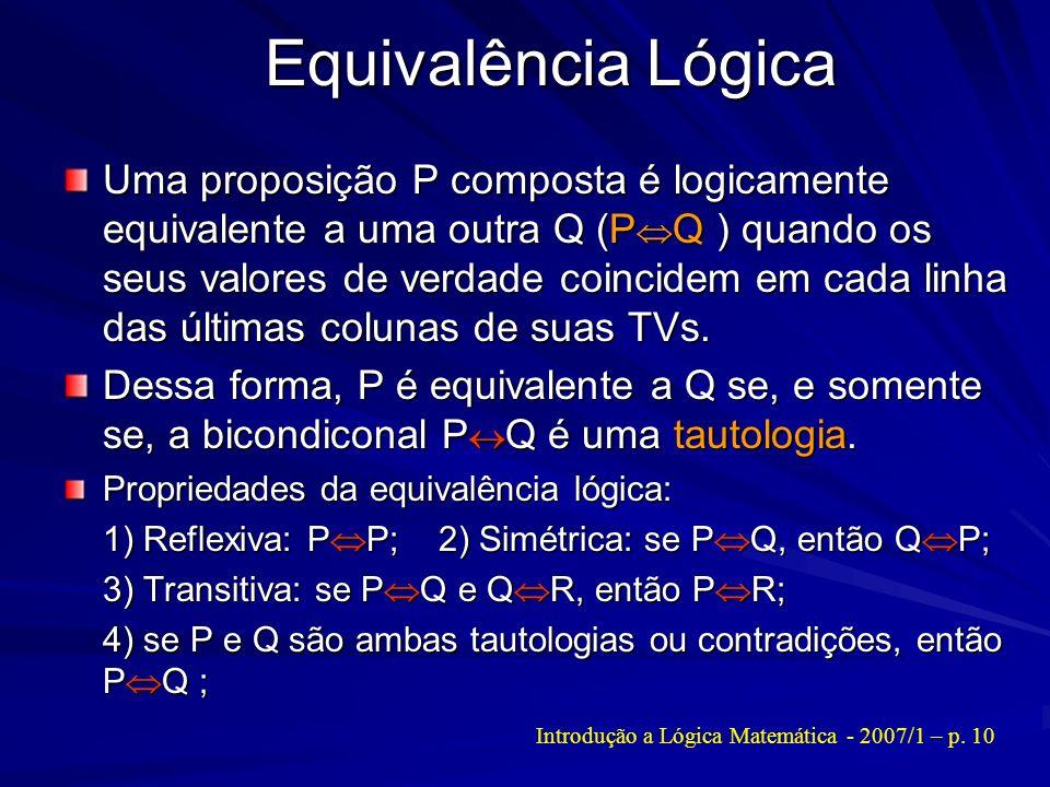 Equivalência Lógica Uma proposição P composta é logicamente equivalente a uma outra Q (P Q ) quando os seus valores de verdade coincidem em cada linha