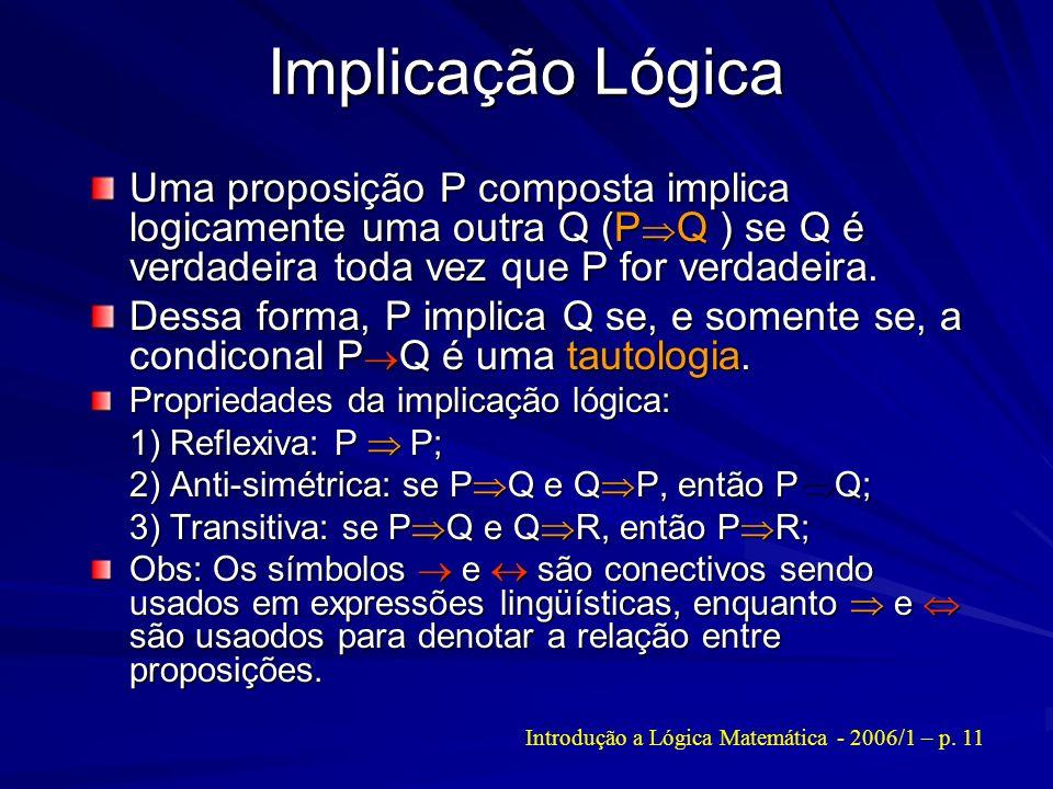 Implicação Lógica Uma proposição P composta implica logicamente uma outra Q (P Q ) se Q é verdadeira toda vez que P for verdadeira. Dessa forma, P imp