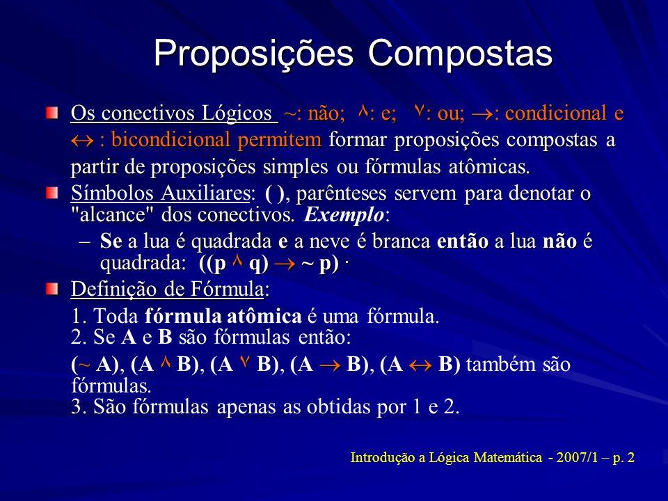 Proposições Compostas Os conectivos Lógicos ~: não; ۸ : e; ۷ : ou; : condicional e : bicondicional permitem formar proposições compostas a partir de p