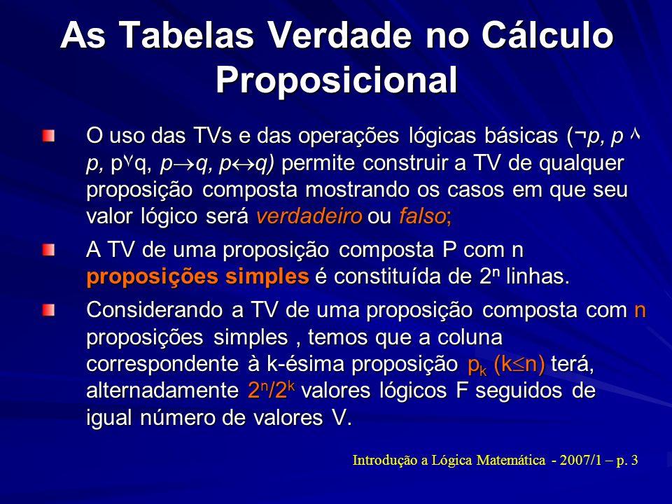 As Tabelas Verdade no Cálculo Proposicional O uso das TVs e das operações lógicas básicas (¬p, p ۸ p, p۷q, p q, p q) permite construir a TV de qualque
