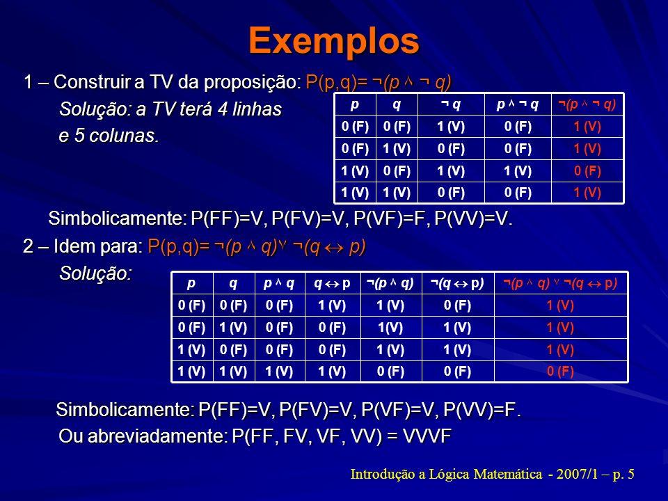 Exemplos 1 – Construir a TV da proposição: P(p,q)= ¬(p ۸ ¬ q) Solução: a TV terá 4 linhas Solução: a TV terá 4 linhas e 5 colunas. e 5 colunas. Simbol