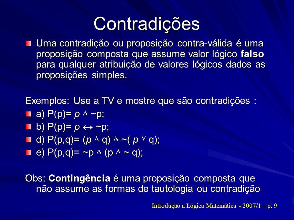 Contradições Uma contradição ou proposição contra-válida é uma proposição composta que assume valor lógico falso para qualquer atribuição de valores l