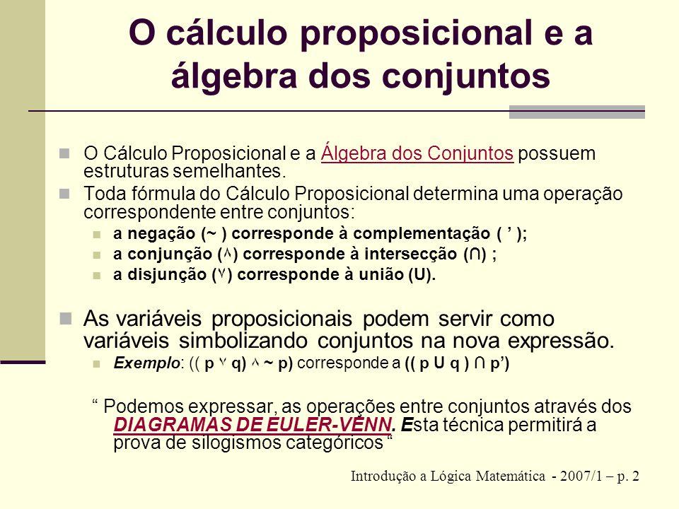 Diagramas de Euler-Venn 1/3 1 – COMPLEMENTAÇÃO : p que corresponde à NEGAÇÃO :~p Introdução a Lógica Matemática - 2007/1 – p.