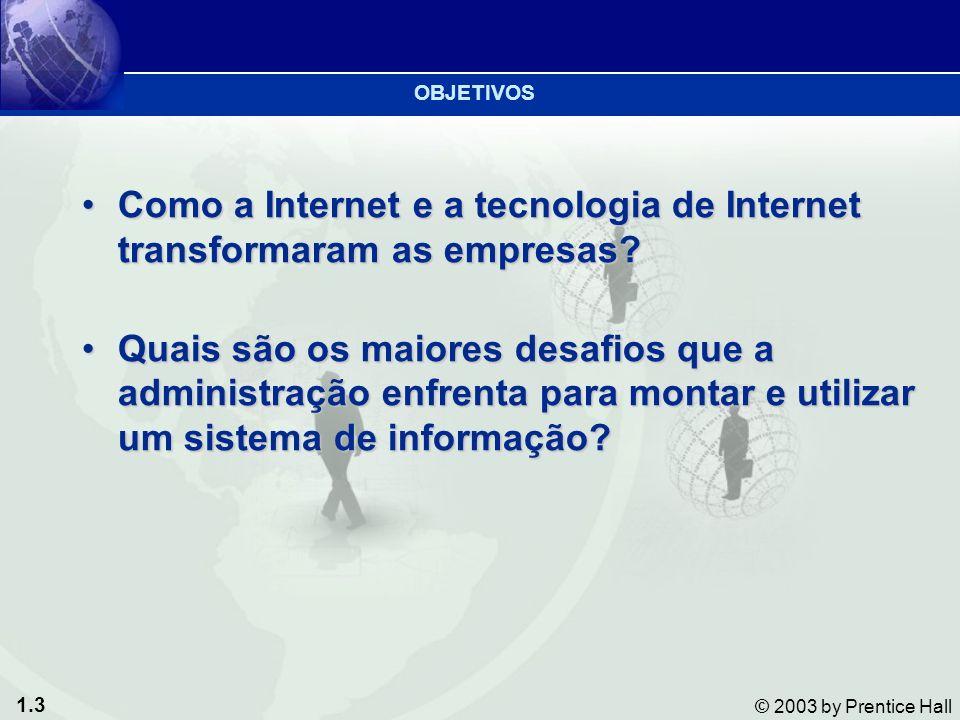1.4 © 2003 by Prentice Hall 1.Projetar sistemas competitivos e eficazes 2.