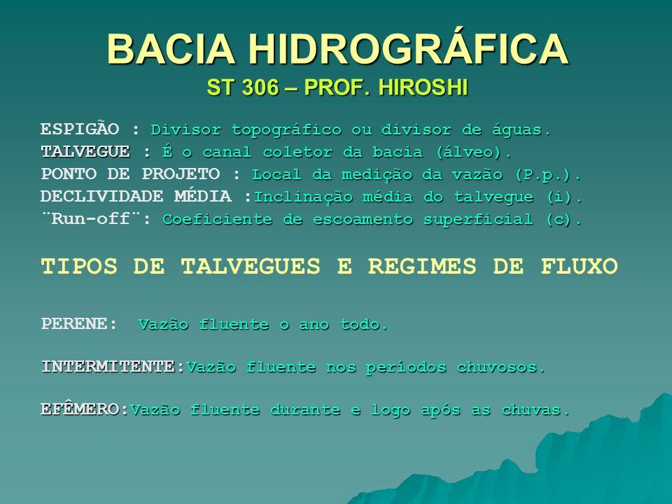 BACIA HIDROGRÁFICA ST 306 – PROF. HIROSHI Divisor topográfico ou divisor de águas. ESPIGÃO : Divisor topográfico ou divisor de águas. TALVEGUE : É o c