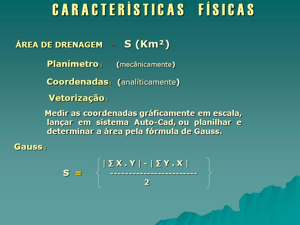 C A R A C T E R Ì S T I C A S F Í S I C A S ÁREA DE DRENAGEM - S (Km²) ÁREA DE DRENAGEM - S (Km²) Planímetro : (mecânicamente) Planímetro : (mecânicam