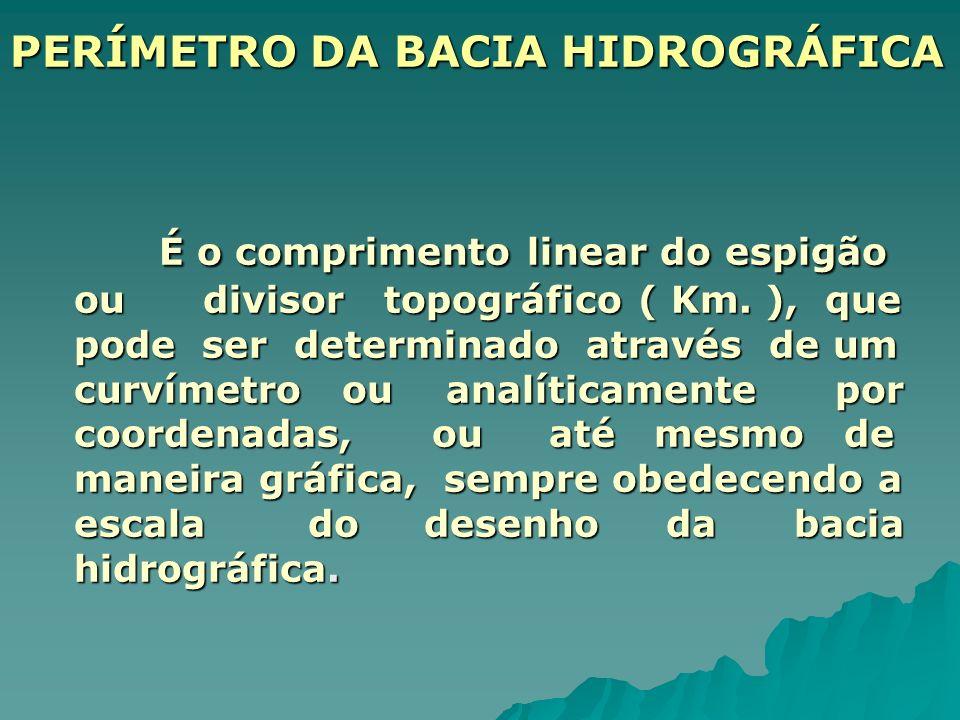 PERÍMETRO DA BACIA HIDROGRÁFICA É o comprimento linear do espigão ou divisor topográfico ( Km. ), que pode ser determinado através de um curvímetro ou