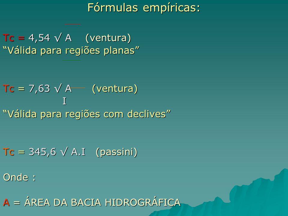 Fórmulas empíricas: Tc = 4,54 A (ventura) Válida para regiões planas Tc = 7,63 A (ventura) I Válida para regiões com declives Tc = 345,6 A.I (passini)