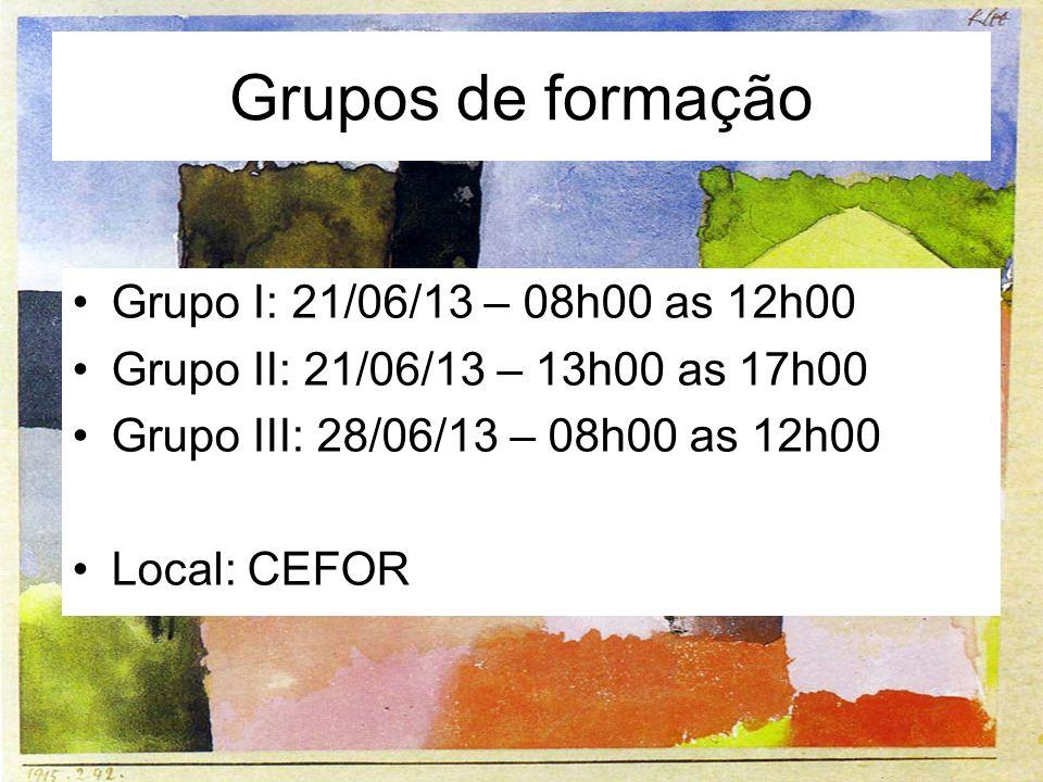 Grupos de formação Grupo I: 21/06/13 – 08h00 as 12h00 Grupo II: 21/06/13 – 13h00 as 17h00 Grupo III: 28/06/13 – 08h00 as 12h00 Local: CEFOR