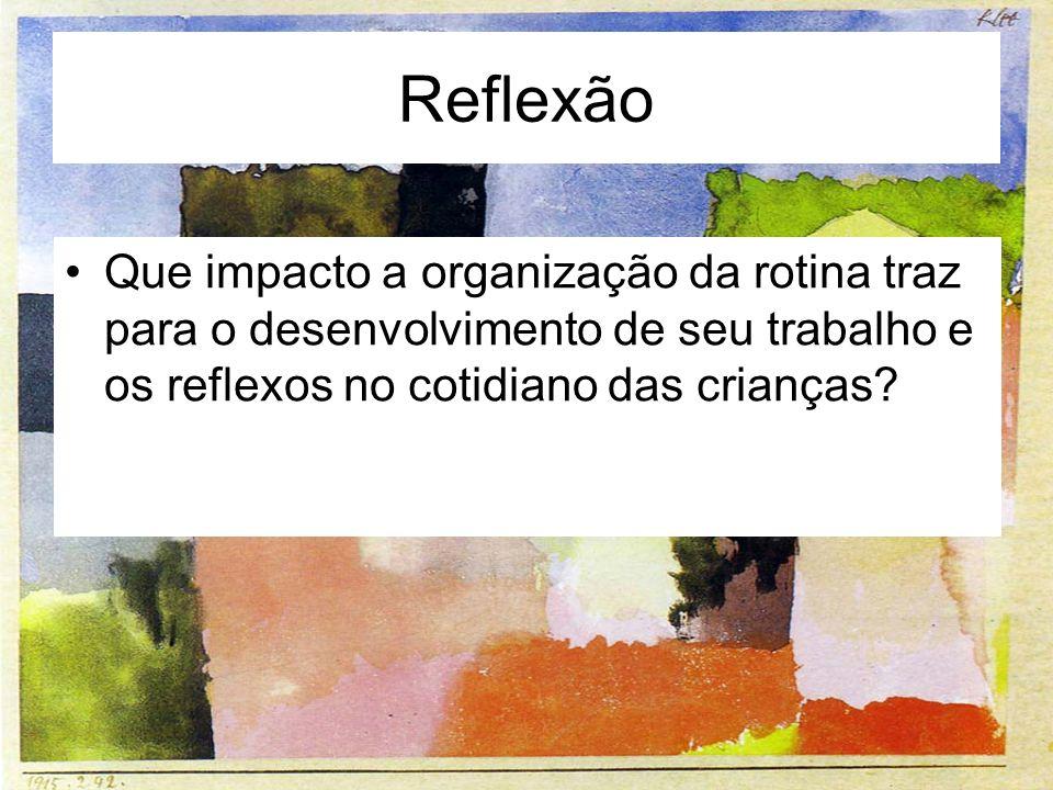 Reflexão Que impacto a organização da rotina traz para o desenvolvimento de seu trabalho e os reflexos no cotidiano das crianças?