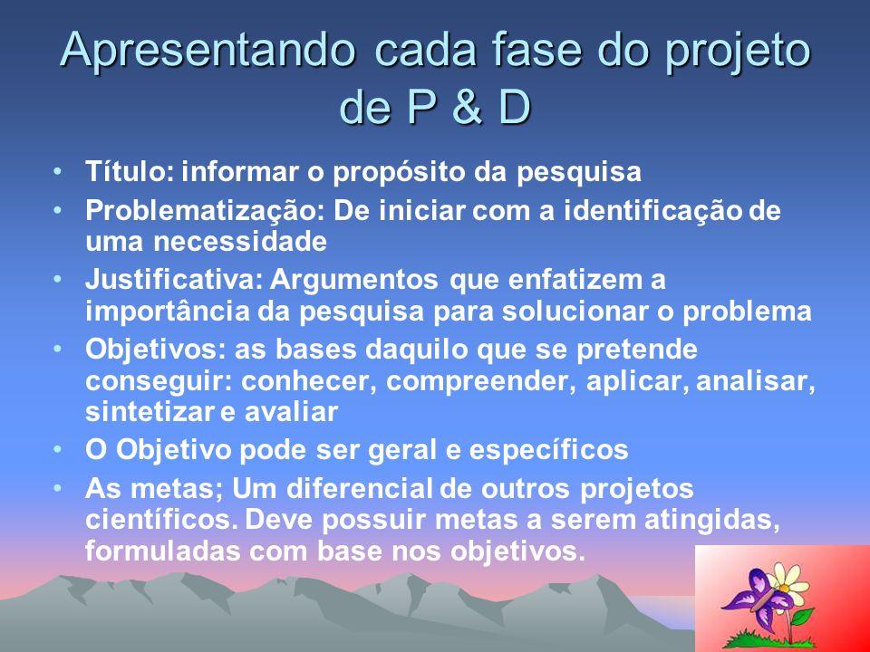 Apresentando cada fase do projeto de P & D Título: informar o propósito da pesquisa Problematização: De iniciar com a identificação de uma necessidade