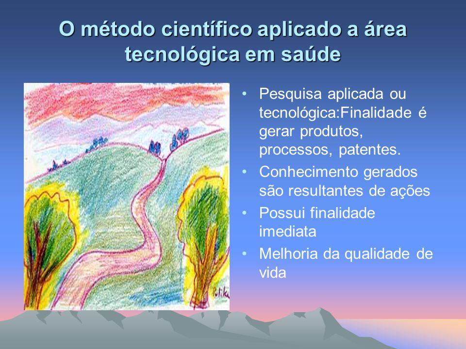 O método científico aplicado a área tecnológica em saúde Pesquisa aplicada ou tecnológica:Finalidade é gerar produtos, processos, patentes. Conhecimen