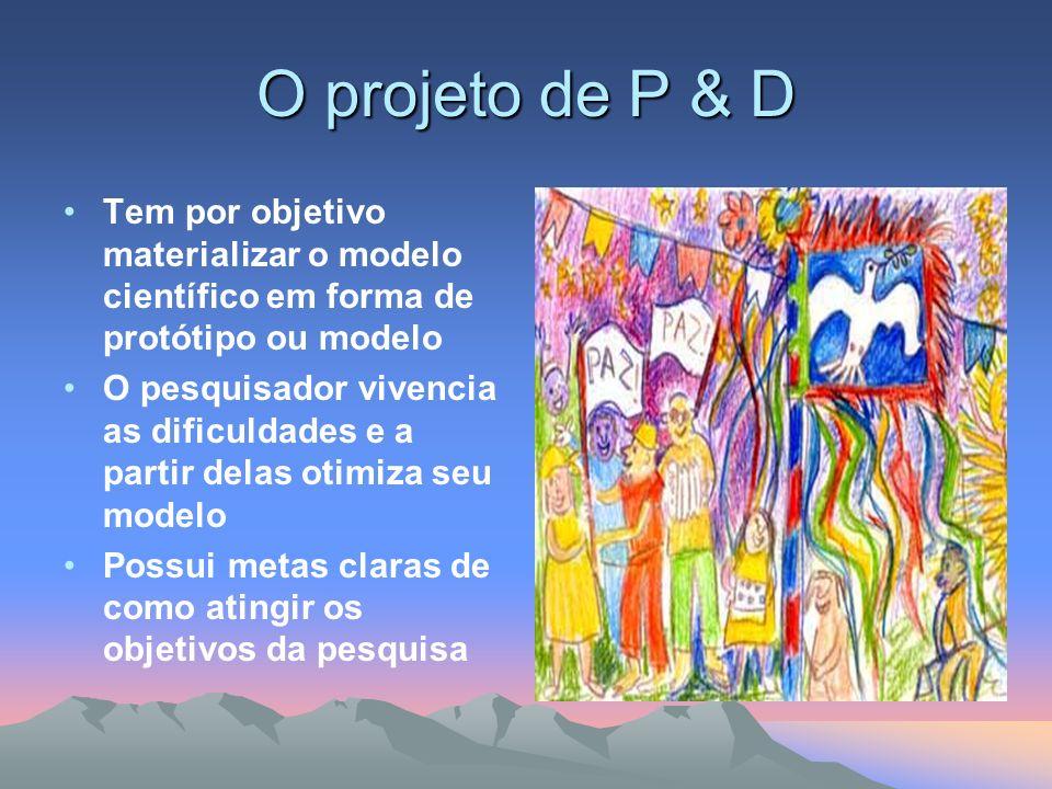 O projeto de P & D Tem por objetivo materializar o modelo científico em forma de protótipo ou modelo O pesquisador vivencia as dificuldades e a partir