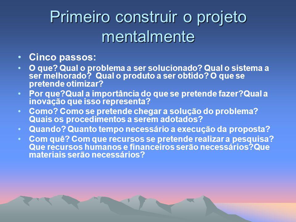 Primeiro construir o projeto mentalmente Cinco passos: O que? Qual o problema a ser solucionado? Qual o sistema a ser melhorado? Qual o produto a ser