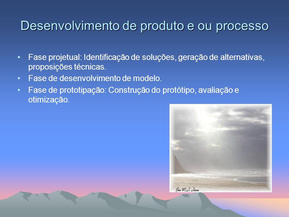 Desenvolvimento de produto e ou processo Fase projetual: Identificação de soluções, geração de alternativas, proposições técnicas. Fase de desenvolvim