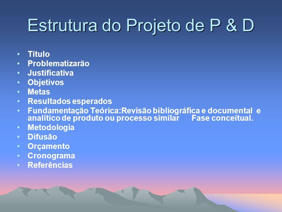 Estrutura do Projeto de P & D Título Problematizarão Justificativa Objetivos Metas Resultados esperados Fundamentação Teórica:Revisão bibliográfica e
