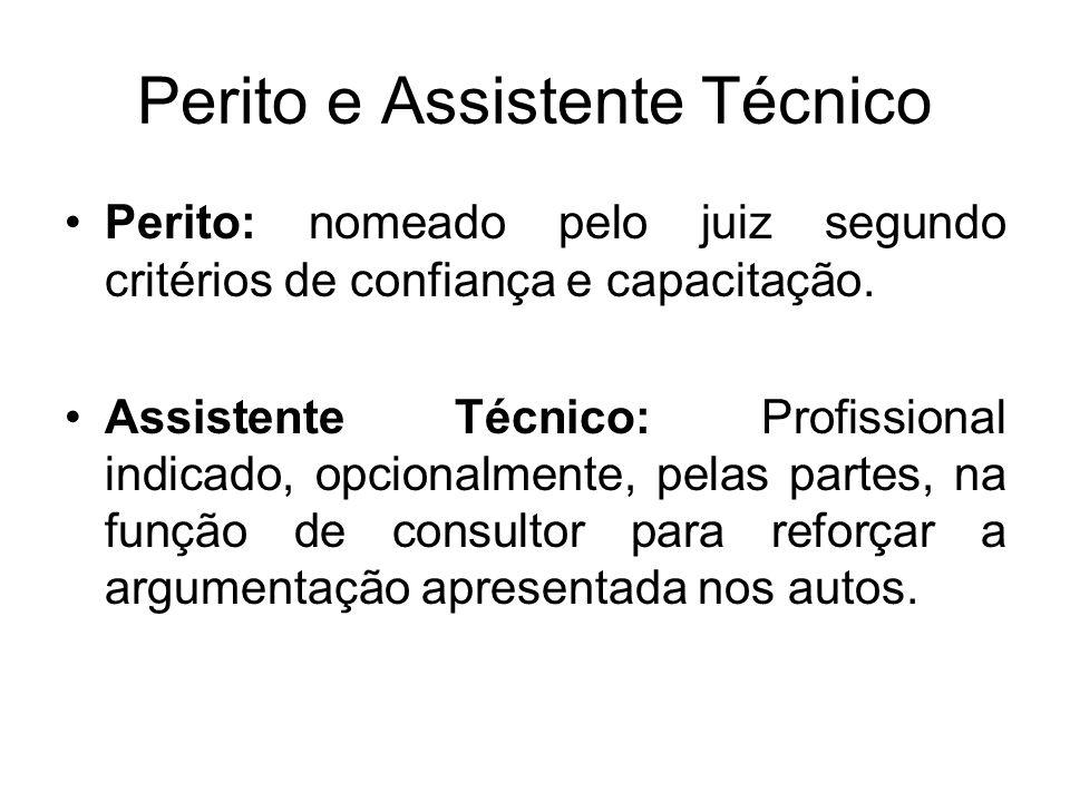 Perito e Assistente Técnico Perito: nomeado pelo juiz segundo critérios de confiança e capacitação. Assistente Técnico: Profissional indicado, opciona