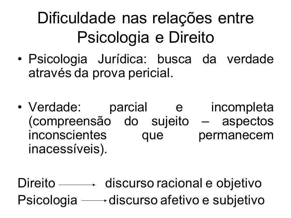 Dificuldade nas relações entre Psicologia e Direito Psicologia Jurídica: busca da verdade através da prova pericial. Verdade: parcial e incompleta (co