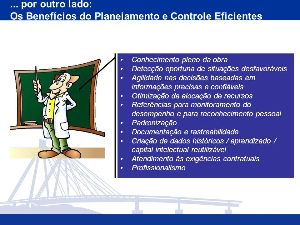 ... por outro lado: Os Benefícios do Planejamento e Controle Eficientes Conhecimento pleno da obra Detecção oportuna de situações desfavoráveis Agilid