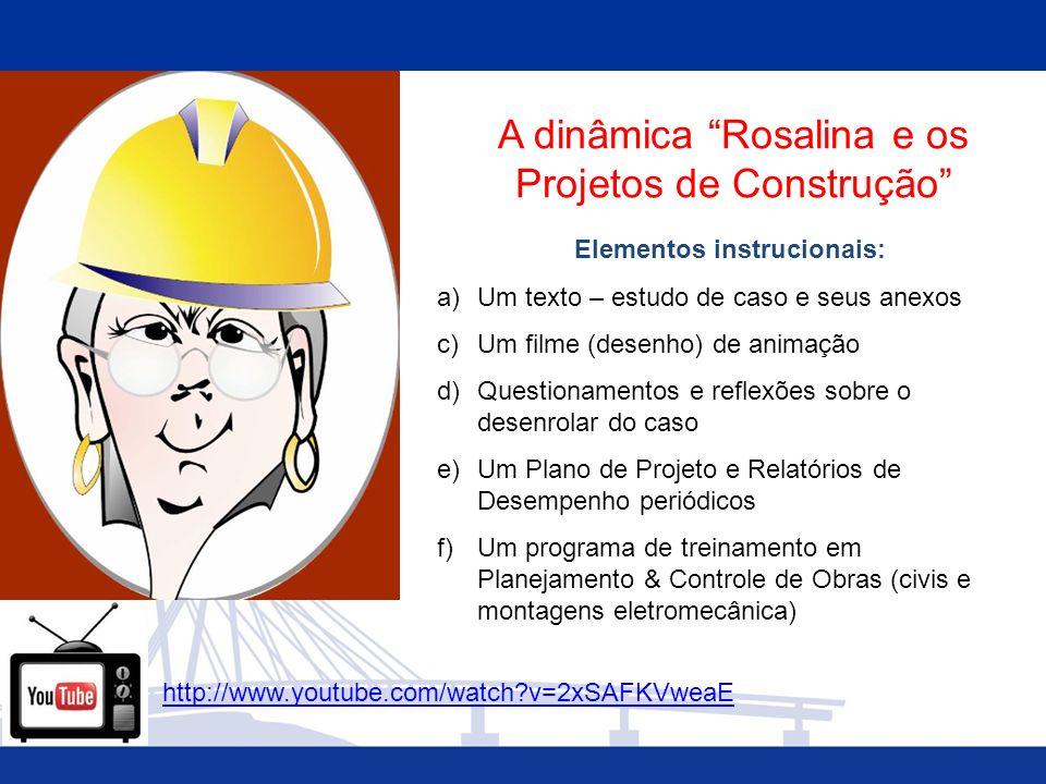 A dinâmica Rosalina e os Projetos de Construção Elementos instrucionais: a)Um texto – estudo de caso e seus anexos c)Um filme (desenho) de animação d)